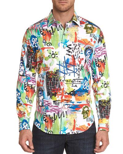 Men's Borderline Graphic Contrast-Reverse Sport Shirt