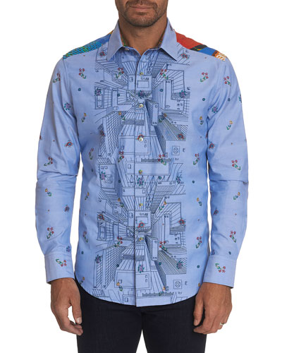Men's Limited Edition Happiness Awaits Graphic Sport Shirt