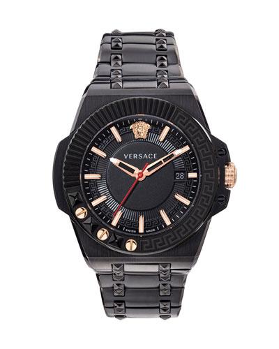 Men's 45mm Studded Stainless Steel Bracelet Watch
