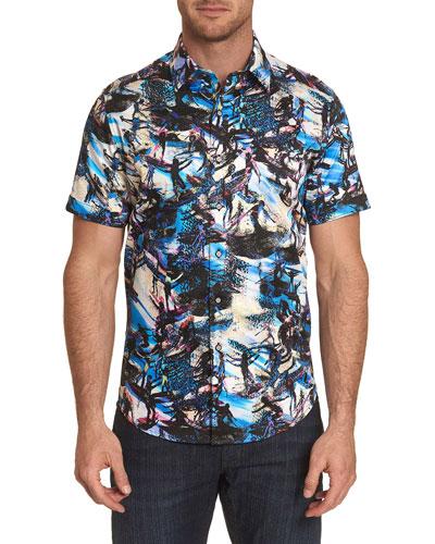 Men's Graphic Surfing-Print Short-Sleeve Sport Shirt