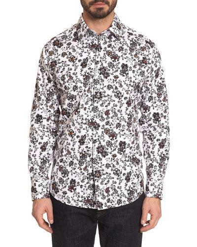 Men's Grey Gardens Floral Contrast-Reverse Sport Shirt