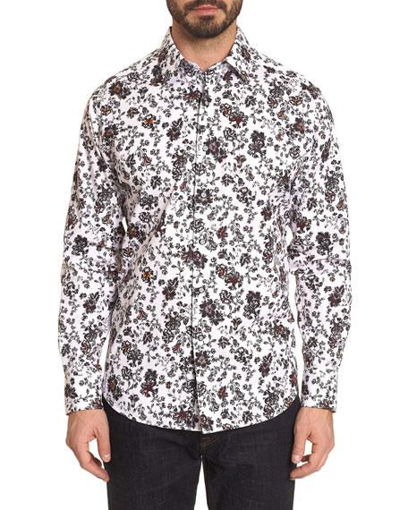Robert Graham Men's Grey Gardens Floral Contrast-Reverse Sport Shirt
