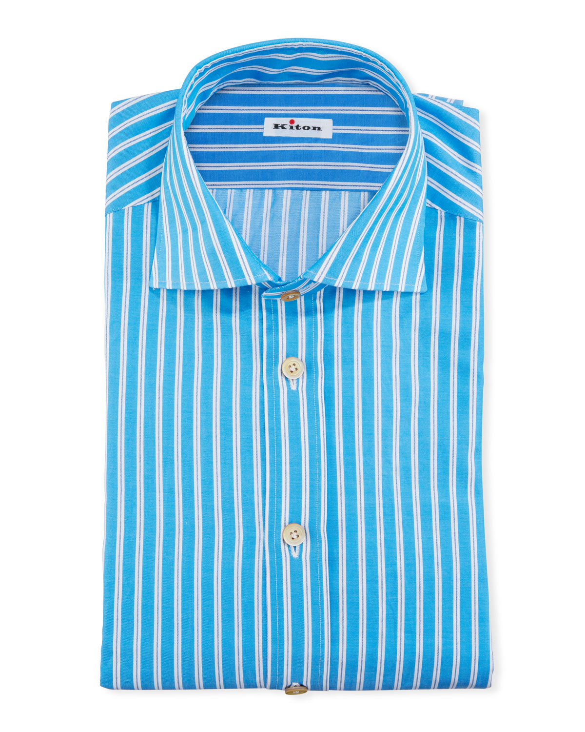Kiton Dresses MEN'S STRIPED COTTON DRESS SHIRT