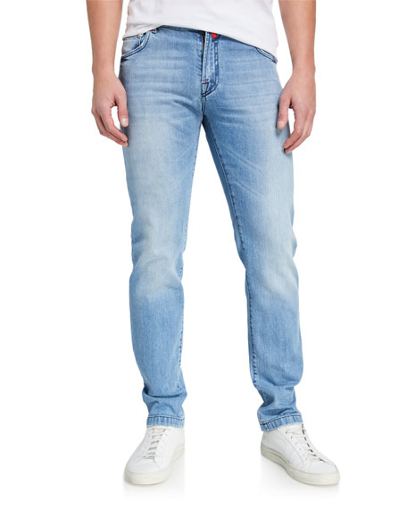 Kiton Men's Light-Wash Straight-Leg Jeans