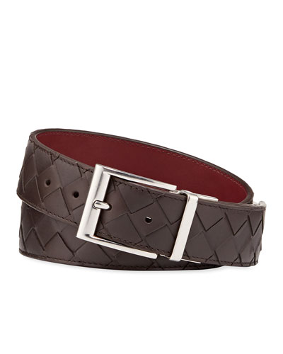 Men's Cintura Reversible Intrecciato Leather Belt