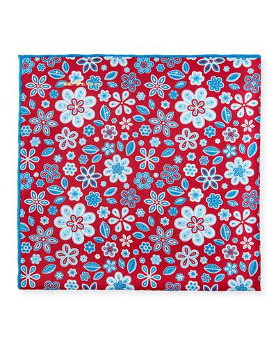 Men's Flowers & Leaves Silk Pocket Square