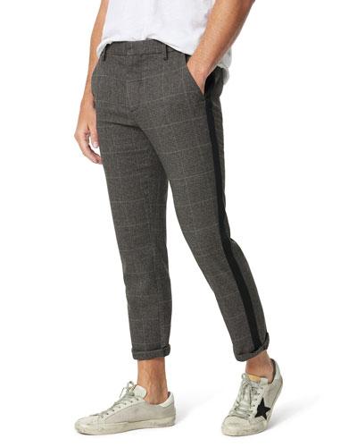Men's Cropped Plaid Side-Stripe Trousers