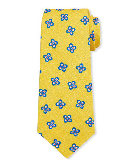 Kiton Men's Four Petal Flower Silk Tie