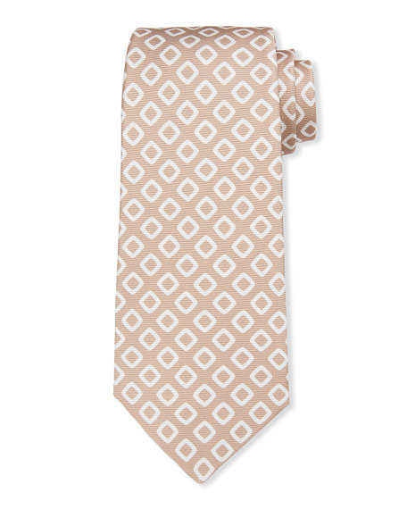 Kiton Men's White Boxes Silk Tie