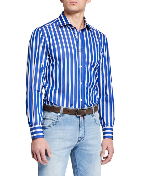 Kiton Men's Double Stripe Dress Shirt
