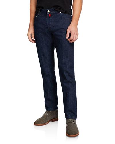 Men's Dark-Wash Straight Stretch Jeans
