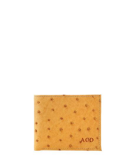 Abas Men's Slim Ostrich Bifold Wallet