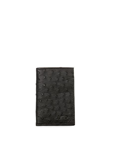 Abas Ostrich Bi-Fold Card Case