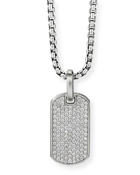 David Yurman Men's Silver Pave Diamond Tag Enhancer
