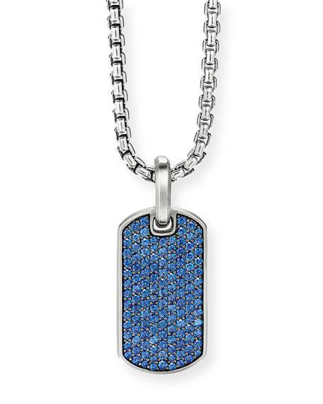 David Yurman Men's Silver Pave Sapphire Tag Enhancer