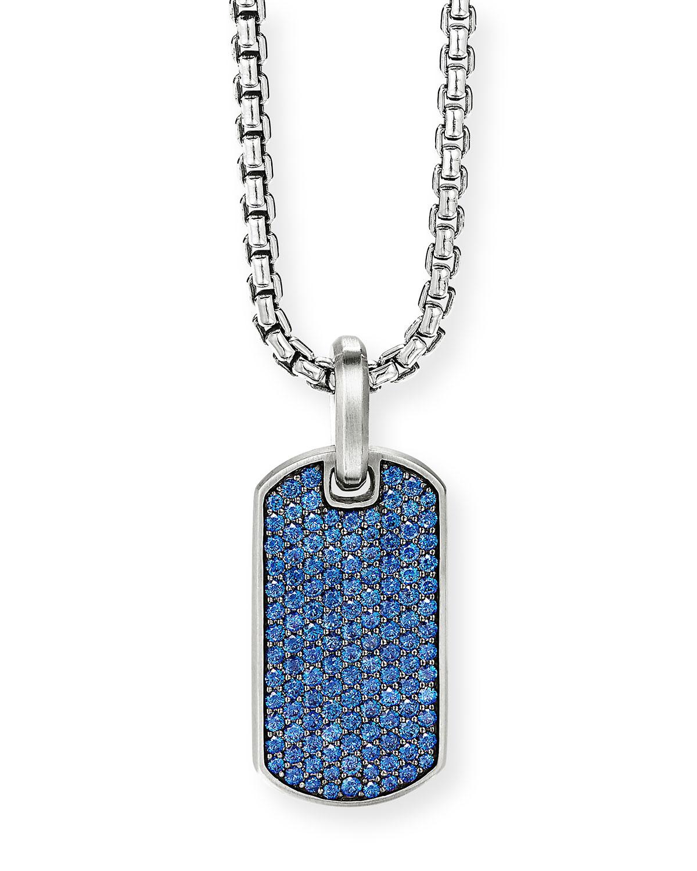 Men's Silver Pave Sapphire Tag Enhancer