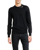 Alexander McQueen Men's Solid Crewneck Sweater w/ Slashed