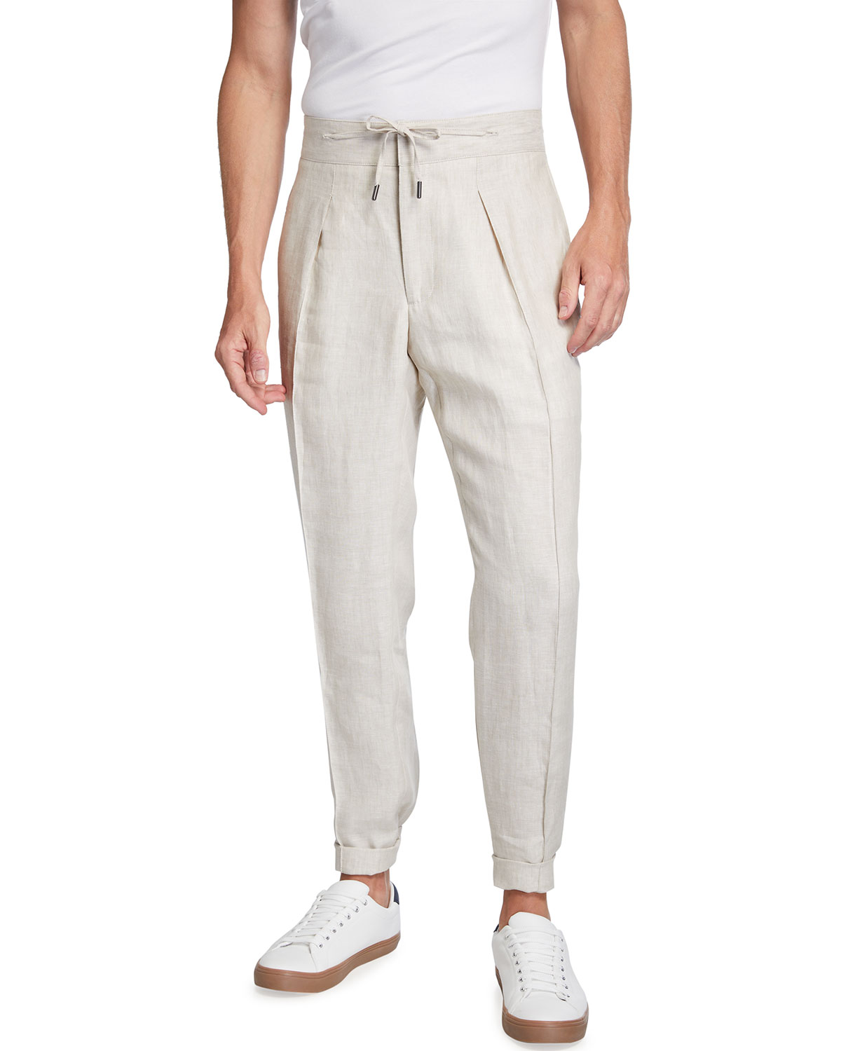Men's Stone Linen Pleated Tapered Trousers