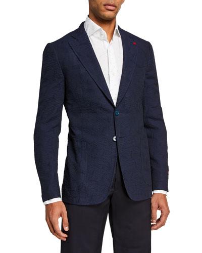 Men's Solid Seersucker Sport Jacket
