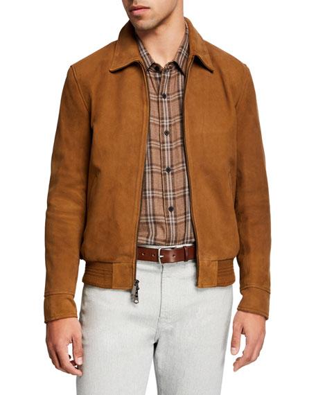 7 for all mankind Men's Lamb Suede Blouson Jacket