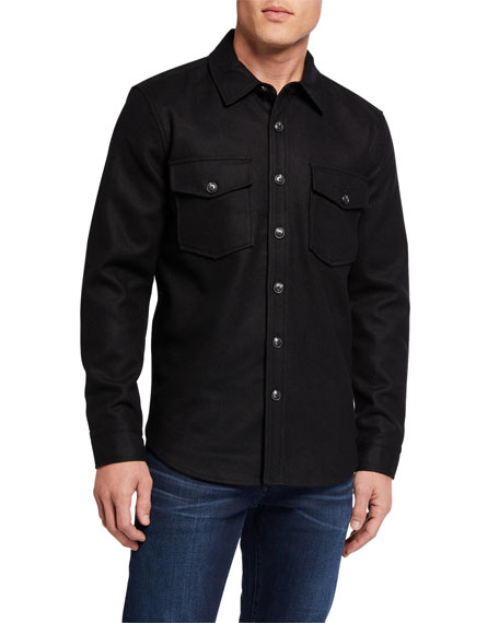7 for all mankind Men's Melton Wool Shirt Jacket