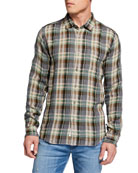 7 for all mankind Men's Plaid Oxford Sport