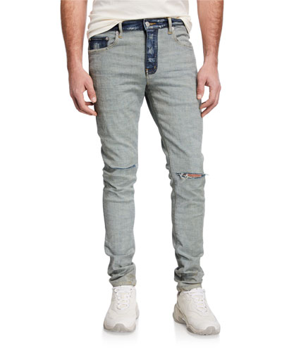 Ladies Womens Splashed Faded Knee Cut Ripped Skinny Fitted Trousers Denim Jeans