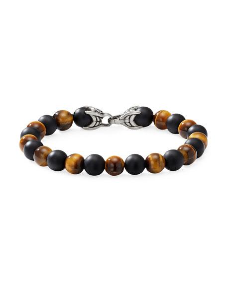 David Yurman Men's Spiritual Beads Bracelet with Alternating Tiger's Eye & Black Onyx