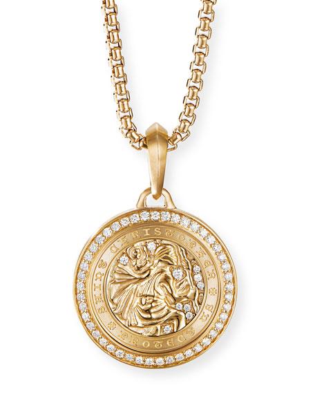 David Yurman Men's 26.5mm Gold St. Christopher Amulet with Diamonds