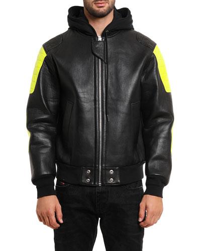 Men's L Brando Hooded Leather Jacket