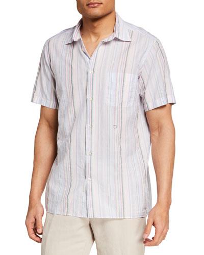 Men's Multi-Stripe Short-Sleeve Sport Shirt