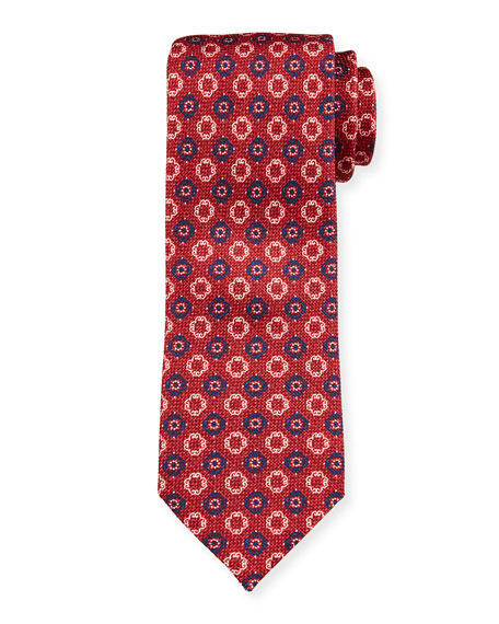 Ermenegildo Zegna Men's Alternating Medallions Silk Tie, Red