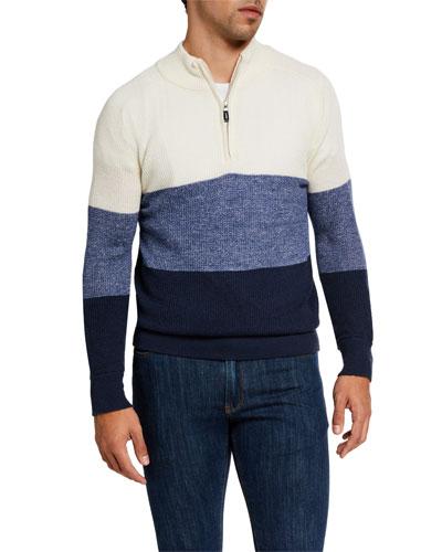 Men's Crown Cool Quarter-Zip Colorblock Sweater