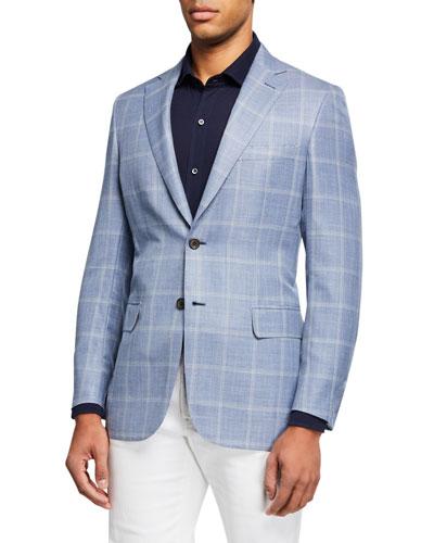 Men's Windowpane Check Wool-Blend Sport Jacket
