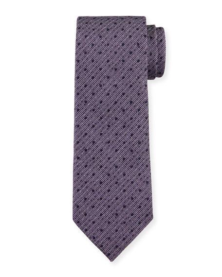 Ermenegildo Zegna Men's Striped Linen-Silk Tie, Purple