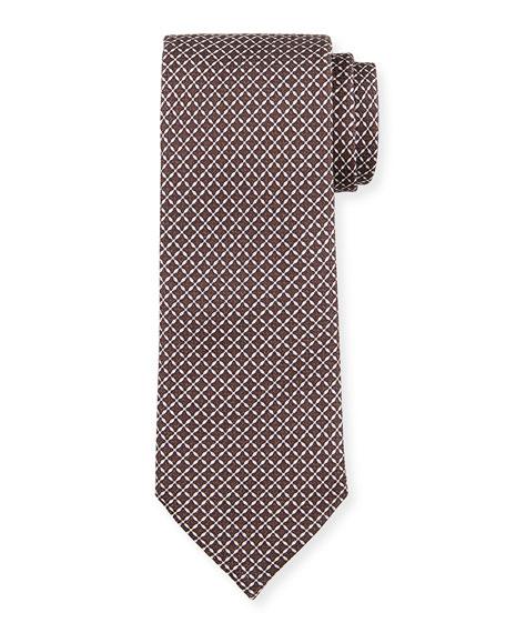 Ermenegildo Zegna Men's Lattice-Print Silk Tie, Brown