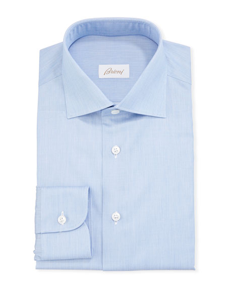 Brioni Men's Chambray Poplin Dress Shirt