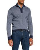 Peter Millar Men's Mock-Neck Jacquard Striped Sweater
