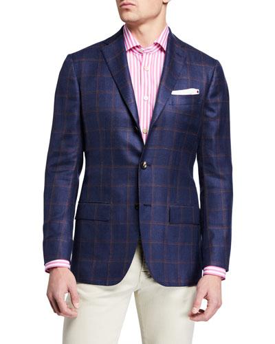 Men's Windowpane Check Cashmere-Blend Sport Jacket