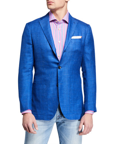 Men's Tonal Check Cashmere-Blend Sport Jacket
