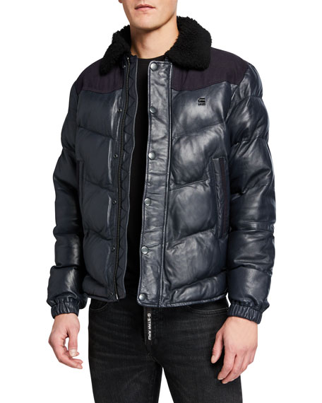 G-Star Men's Western Leather Puffer Jacket