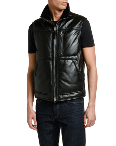 Men's Leather Vest with Shearling Collar Lining
