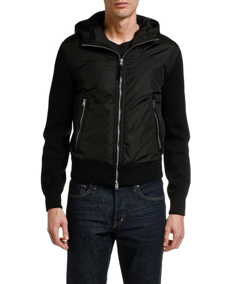 TOM FORD Men's Hooded Shawl Zip-Front Cardigan