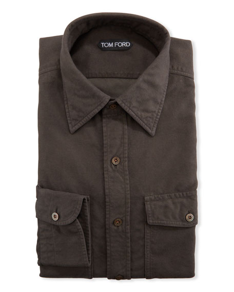 TOM FORD Men's Garment-Dyed Point-Collar Sport Shirt