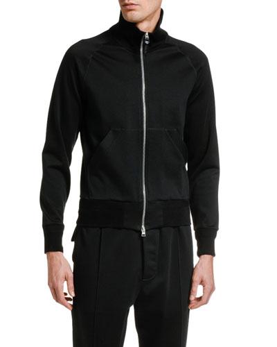 Men's Solid Cotton-Blend Zip-Front Sweatshirt