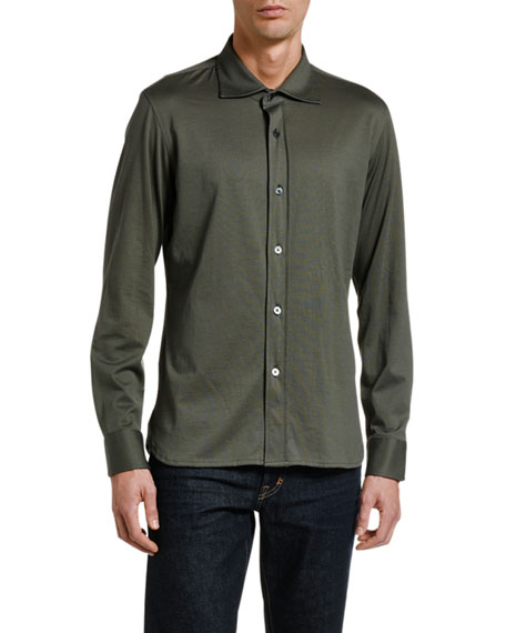 TOM FORD Men's Solid Jersey Sport Shirt