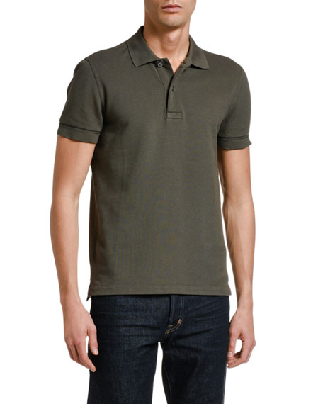 TOM FORD Men's Solid Tennis Pique Polo Shirt