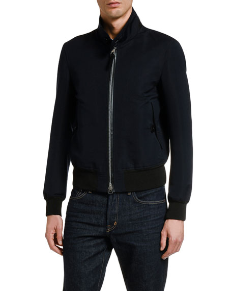 TOM FORD Men's Solid Cotton-Silk Blouson Jacket