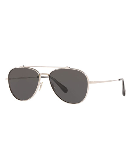 Oliver Peoples Men's Rikson Titanium Aviator Sunglasses