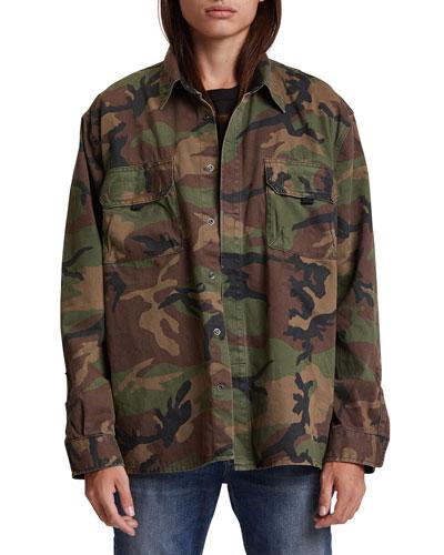 Men's Camo-Print Shirt Jacket